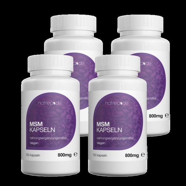 MSM-Kapseln, vegan, 99,9% reines, organisches Schwefel Pulver - 4 x 150 Kapseln à 800mg