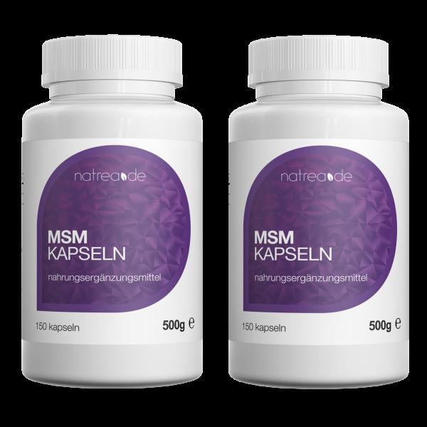 MSM-Kapseln, 99,9% reines, organisches Schwefel Pulver - 2 x 150 Kapseln à 500mg