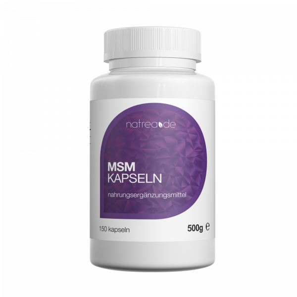 MSM-Kapseln, 99,9% reines, organisches Schwefel Pulver - 150 Kapseln à 500mg
