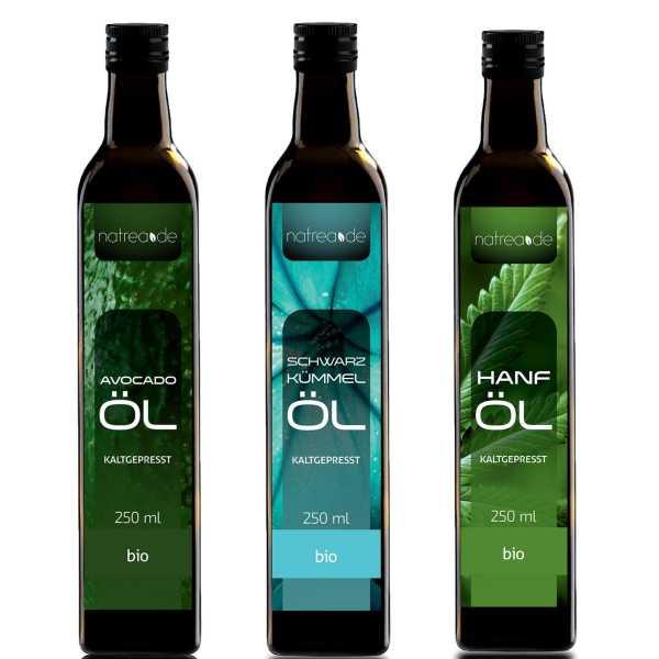 BIO-Probierset, 3 x 250 ml (bestehend aus Avocadoöl, Schwarzkümmelöl & Hanföl)