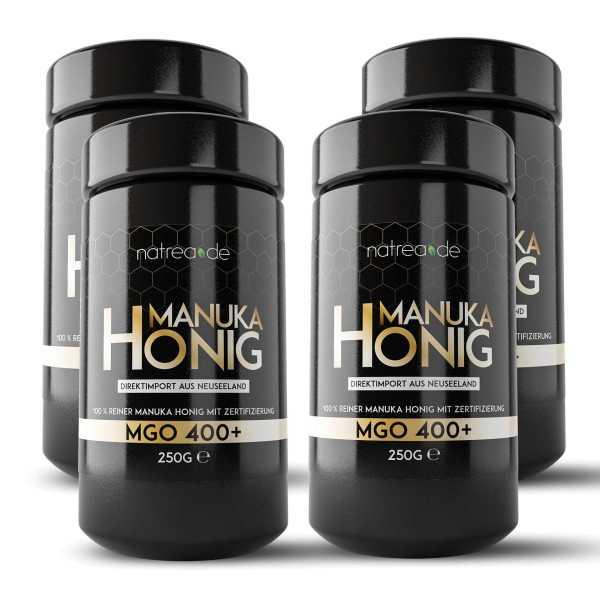 Manuka Honig, MGO 400+, 4er Pack (4 x 250 g)