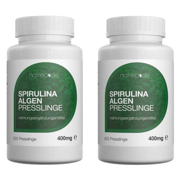Spirulina Algen Presslinge, 1250 Stück ( 2 x 625 Stück a 400mg )