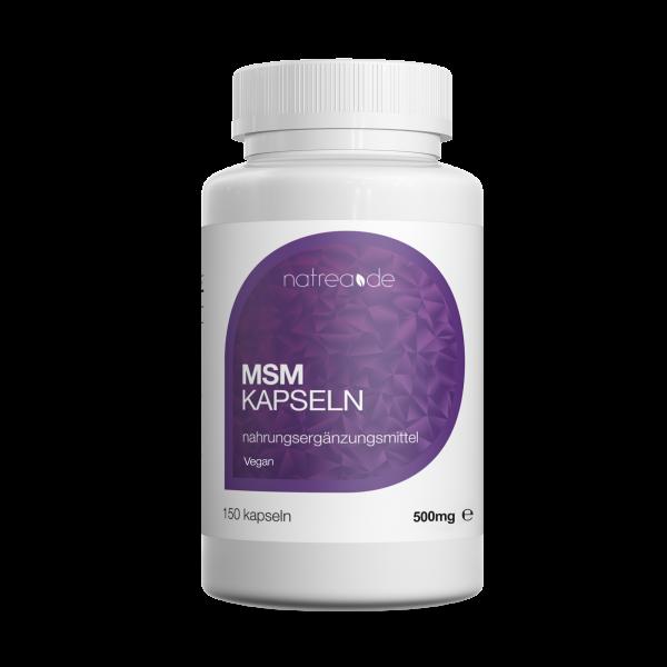 MSM-Kapseln, vegan, 99,9% reines, organisches Schwefel Pulver - 150 Kapseln à 500mg