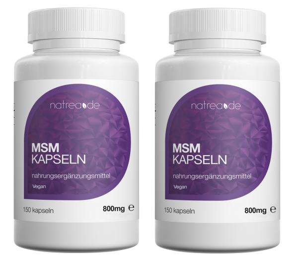 MSM-Kapseln, vegan, 99,9% reines, organisches Schwefel Pulver - 2 x 150 Kapseln à 800mg