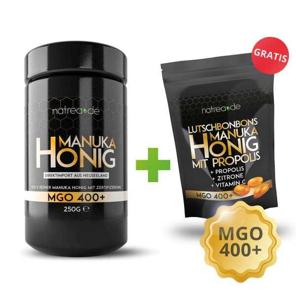 Manuka Honig + gratis Manuka-Bonbons, MGO 400+, 1er Pack (1 x 250 g)