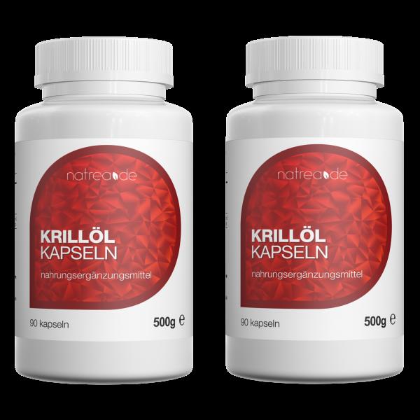 Krillöl Kapseln, hochdosiertes Omega 3 + DHA + EPA - 2 x 90 Softgel Kapseln à 500mg
