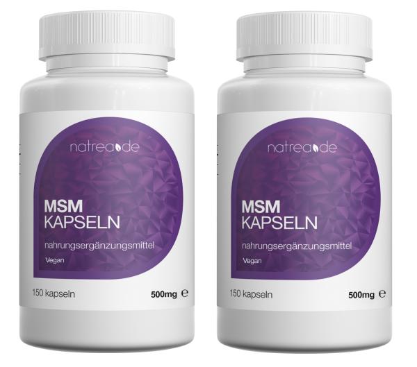 MSM-Kapseln, vegan, 99,9% reines, organisches Schwefel Pulver - 2 x 150 Kapseln à 500mg