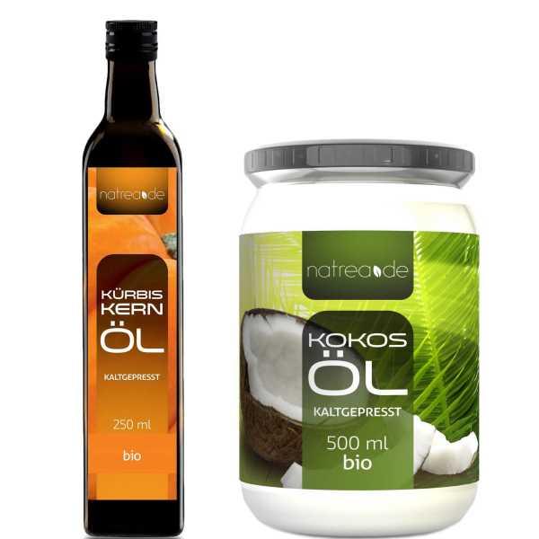 BIO-Gourmetset (bestehend aus 250 ml Kürbiskernöl & 500 ml Kokosöl)